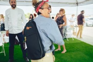 susan feniger wearing the m(sqd) roundsman chef bag